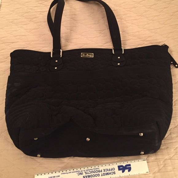 SALEBlack vera Bradley tote bag Soft exterior is a textured black pattern of synthetic material. Multiple exterior pockets. One exterior zip wall pocket. Interior pockets with plastic like material that could be wiped down for easy care.  Could even use this as a diaper bag. Measures 1 foot across bottom by 1 foot in height by 1 foot in depth. Vera Bradley Bags Totes