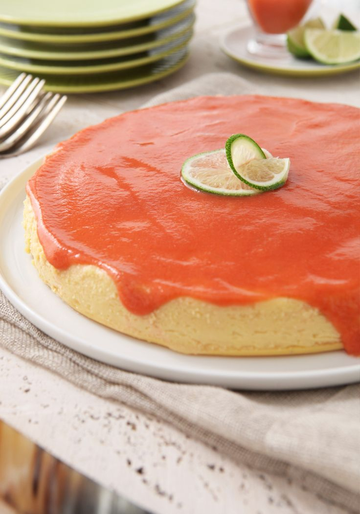 Lime & Cream Cheese Flan with Guava Sauce- What would a Latin dessert table be without a Flan?  This marvelous example with cream cheese, lemon, bathed in guava sauce will conquer your family.