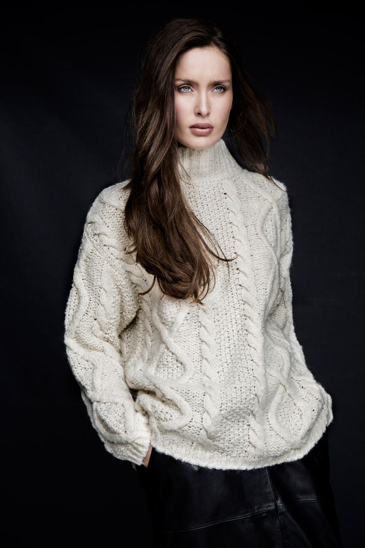 Textured aran knit with ribbed turtle-neck by Carolyn Donnelly The Edit