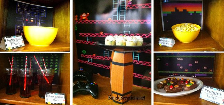 Video Game Party dessert table Treats