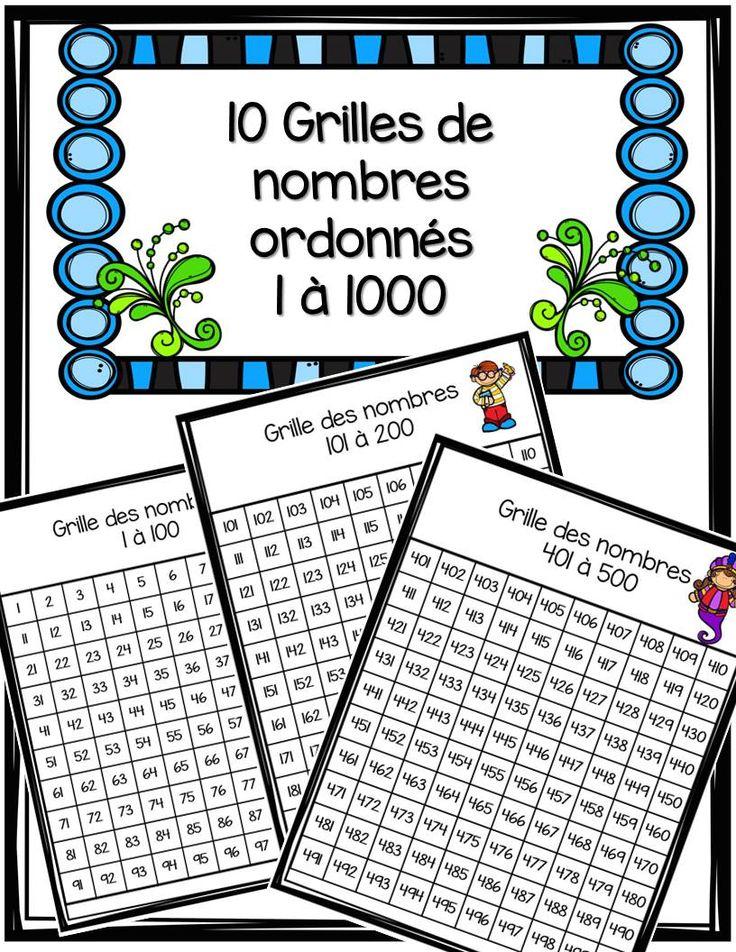 GRATUIT! Voici 10 grilles de nombres. Chaque grille comprend 100 nombres, Chaque grille est ordonnée. Vous obtiendrez les grilles des nombres allant de 1 à 1000.  À utiliser dans vos centres de mathématiques ou encore à mettre dans vos cahiers d'étude. Vous pouvez aussi les découper afin de faire des casse-tête.