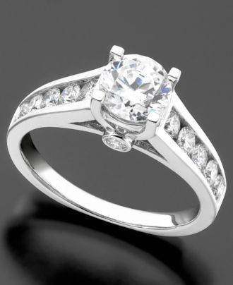 Engagment Ring, Diamond (3/4 ct. t.w.) and 14k White Gold - Rings - Jewelry  Watches - Macys