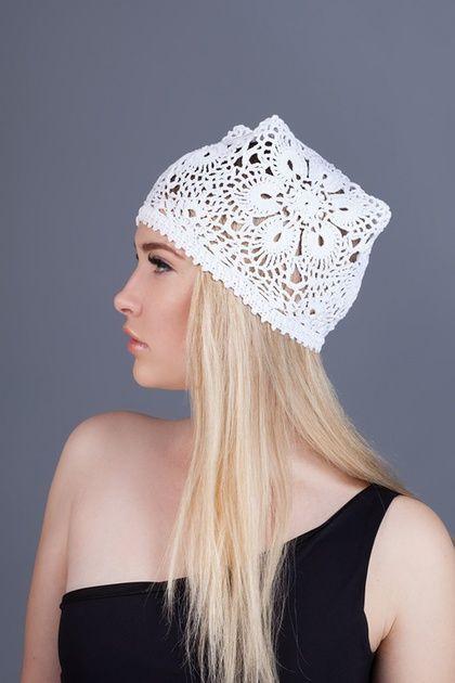 Вязаная летняя женская шапка (хлопок), шапка связанная крючком, летняя шапка хлопок, кружевная летняя шапка, белая женская шапка, вязаная белая шапочка