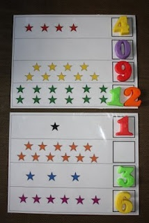 K math station ide  Nice to laminate and place on cookie sheets for cookie sheet match center.
