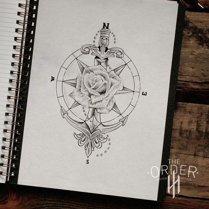 Rose Compass Anchor Sword Sketch