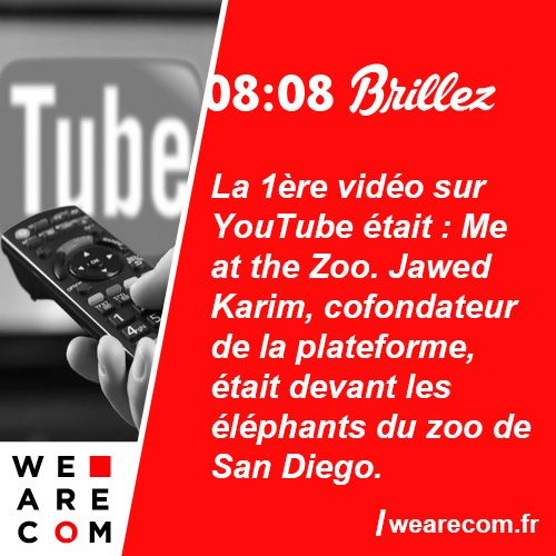 Savoir inutile en communication La 1ère vidéo sur YouTube était: Me at the Zoo. Jawed Karim, cofondateur de la plateforme, était devant les éléphants du zoo de San Diego.