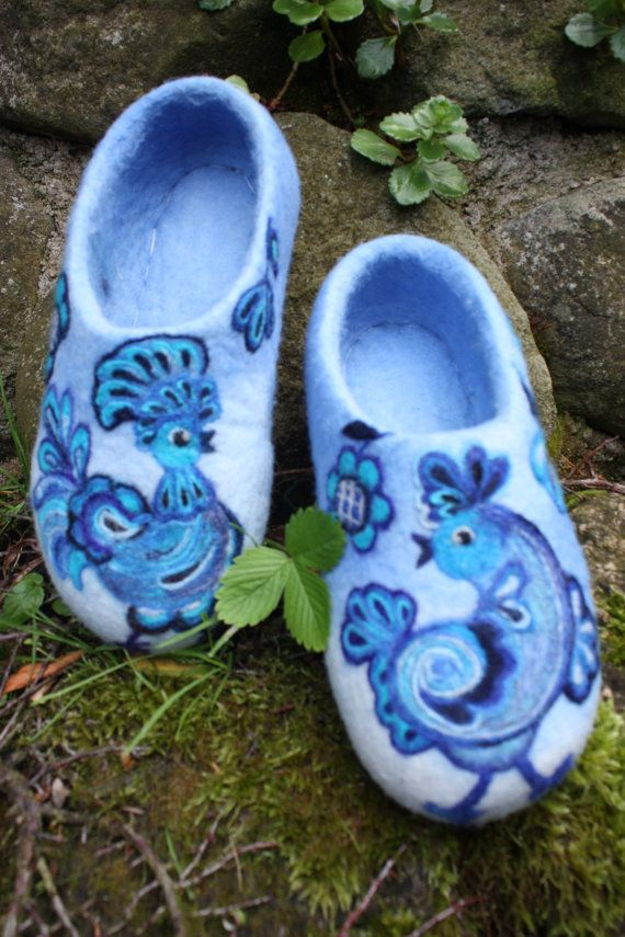 Felted Slippers Blue Birds by IrinaU on Etsy, $101.00