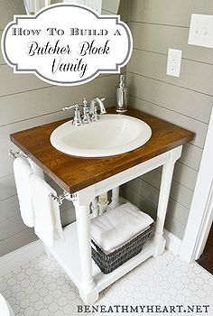 how to build a butcher block vanity, bathroom ideas, diy, home decor, how to
