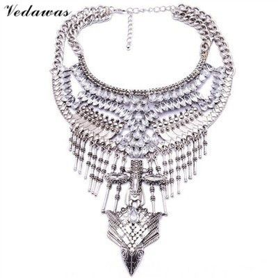 Vedawas Vintage Statement Jewelry Crystal Rhinestone Bead Choker Necklace