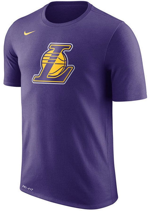 brand new a9117 7dc1d Nike Men s Los Angeles Lakers Dri-fit Cotton Logo T-Shirt