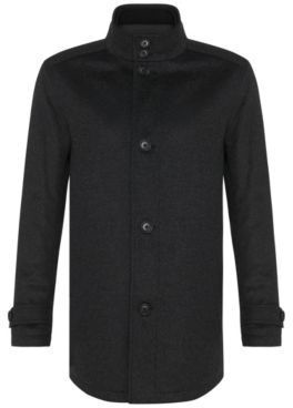Hugo Boss Camlow Wool Cashmere Straight Coat 36R Charcoal