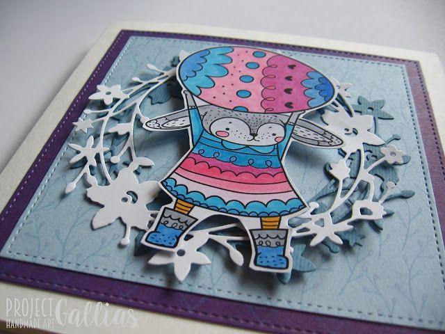 ProjectGallias: #projectgallias, easter card with bunny and egg, kartka wielkanocna z zajączkiem i jajkiem, jajko, wielkanoc, handmade