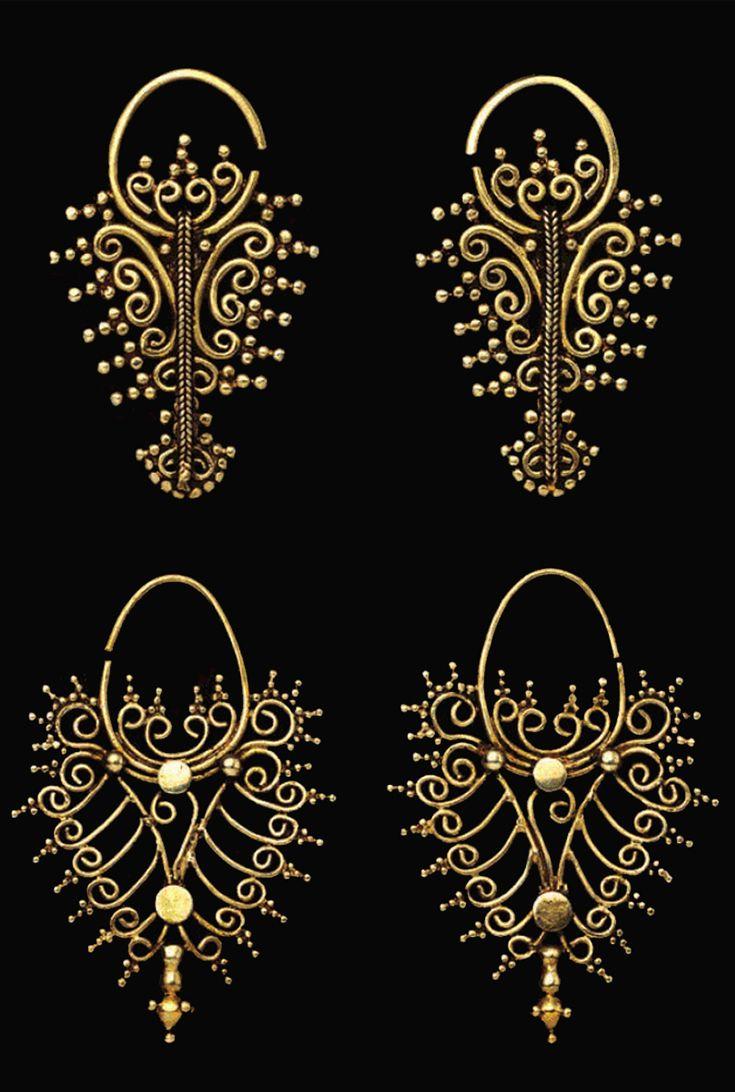 Indonesia ~ Tanimbar, Southeast Maluku | Openwork filigree earrings ~ 'kmwene' ~ gold | 18th - 19th century | Source: 'Gold Jewellery of the Indonesian Archipelago', page 76