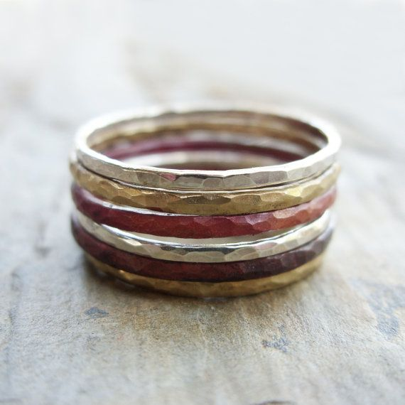 Mixed Metals Stacking Rings in Sterling Silver Fire by brightsmith