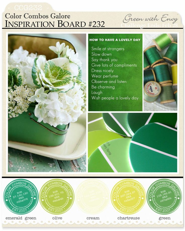 Color Combo Challenge #232: emerald green - olive - cream - chartreuse - green ; #colorcombosgalore ; #CCG232