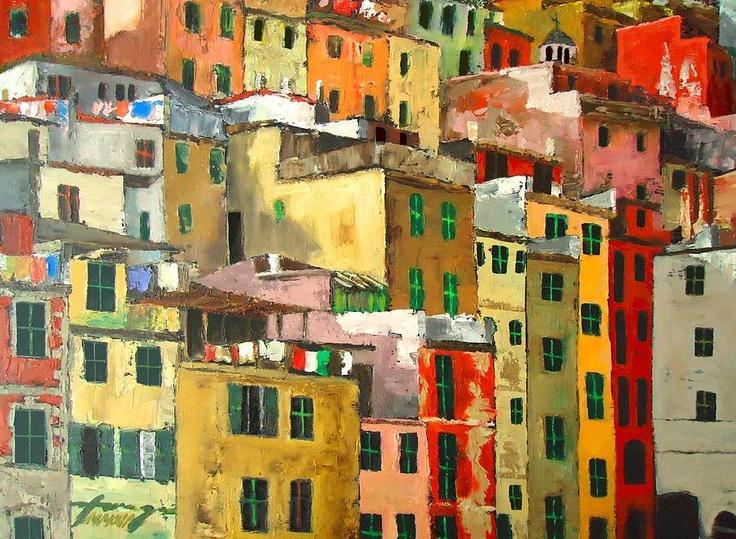 Riomaggiore - Cinque Terre - Italy Painting - Riomaggiore - Cinque Terre - Italy Fine Art Print