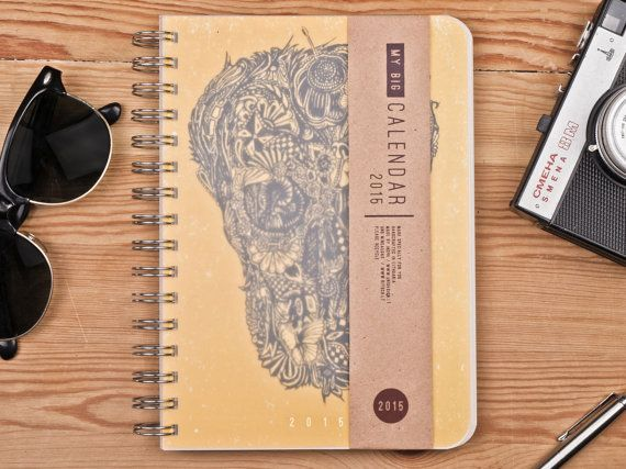 2016 Year Weekly Planner Calendar Diary Day For Him For Her A5 Sugar Skull Yellow Handmade Kalender Calendrier - OCTOBER version available!