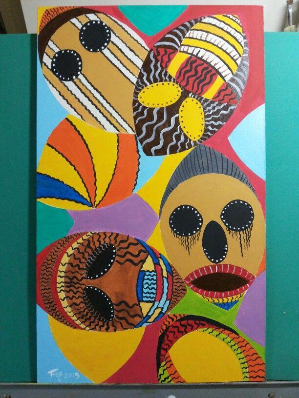 Painel em tinta acrílica . África mascaras .