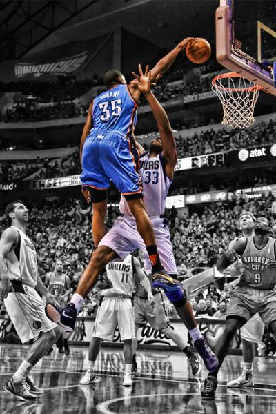 Kevin Durant. Here he posterizes Brendan Haywood. See this picture in action on YouTube: http://youtu.be/OexGEqrYm0A Humble and blessed.