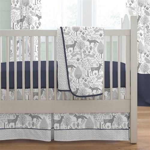 Navy and Gray Woodland Boy Crib Bedding Set by Carousel Designs.