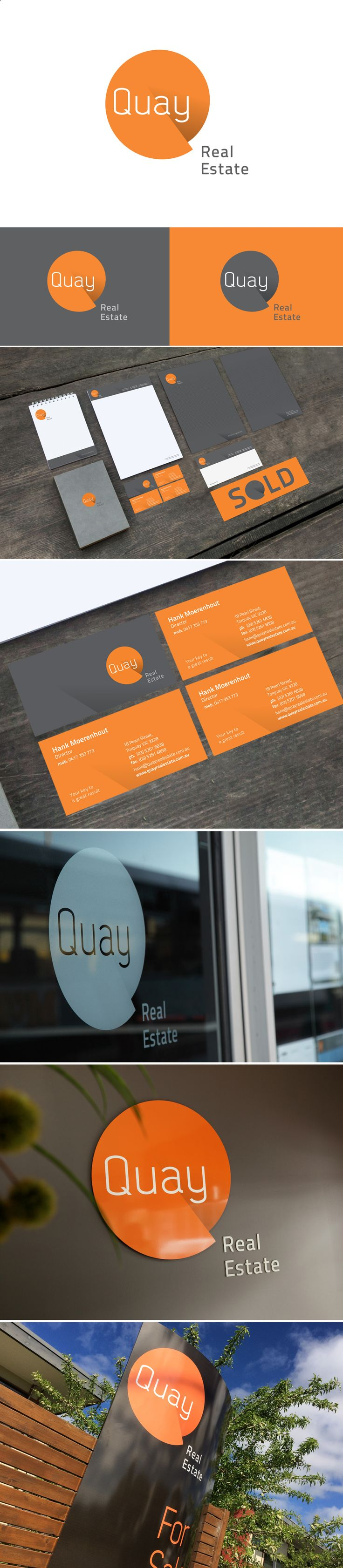 Quay Real Estate brand identity included, stationery, brochure, advertisement template and signage.