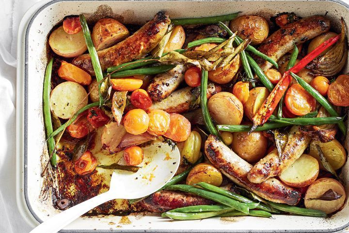 Curried sausage tray bake