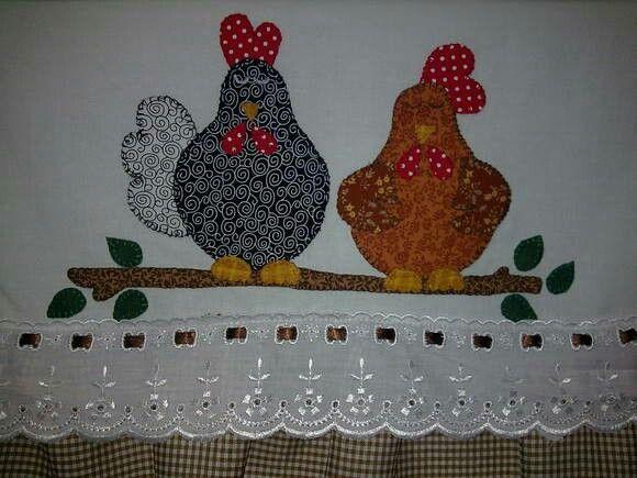 Apliquê de galinhas  cute in mug rugs