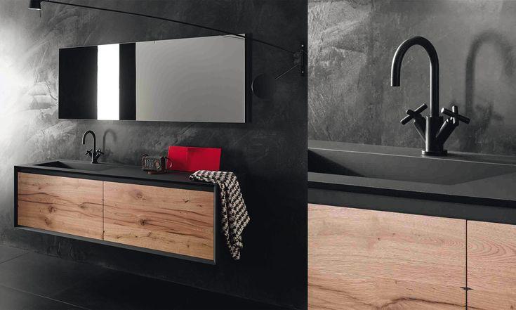 meuble sous vasque stocco iks noir et bois vintage salle de bains et wc pinterest meuble. Black Bedroom Furniture Sets. Home Design Ideas