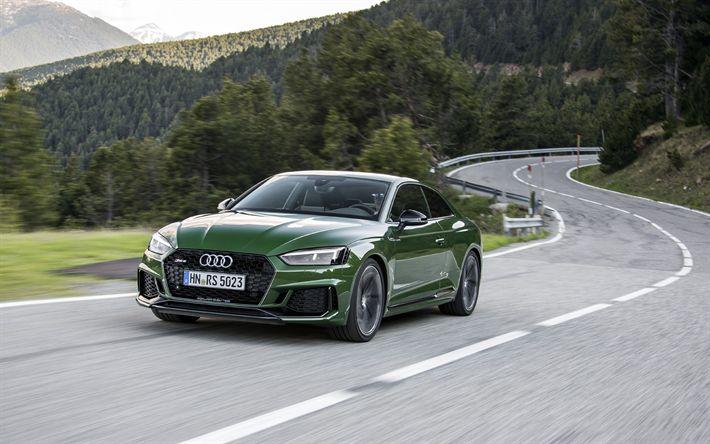 Descargar fondos de pantalla 4k, Audi RS5, los coches alemanes, 2018 coches, movimiento, verde rs5, Audi