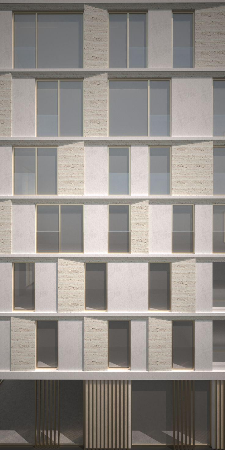 Facade Design for a residential tower - Belgium - Travertin use as cladding - Architecture - Facade