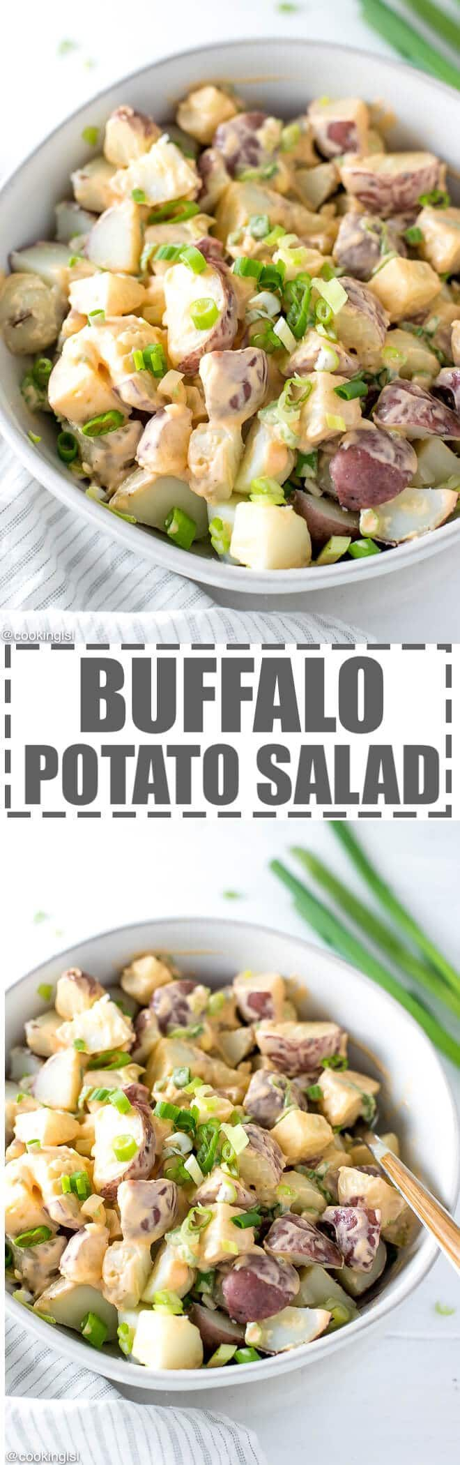 Buffalo Potato Salad Recipe - boiled small red potatoes with a creamy buffalo dressing, made with hot buffalo sauce, mayo and yogurt. Topped with chopped scallions. Great for a party, game day or celebration. Low calorie and full of flavor. via @cookinglsl