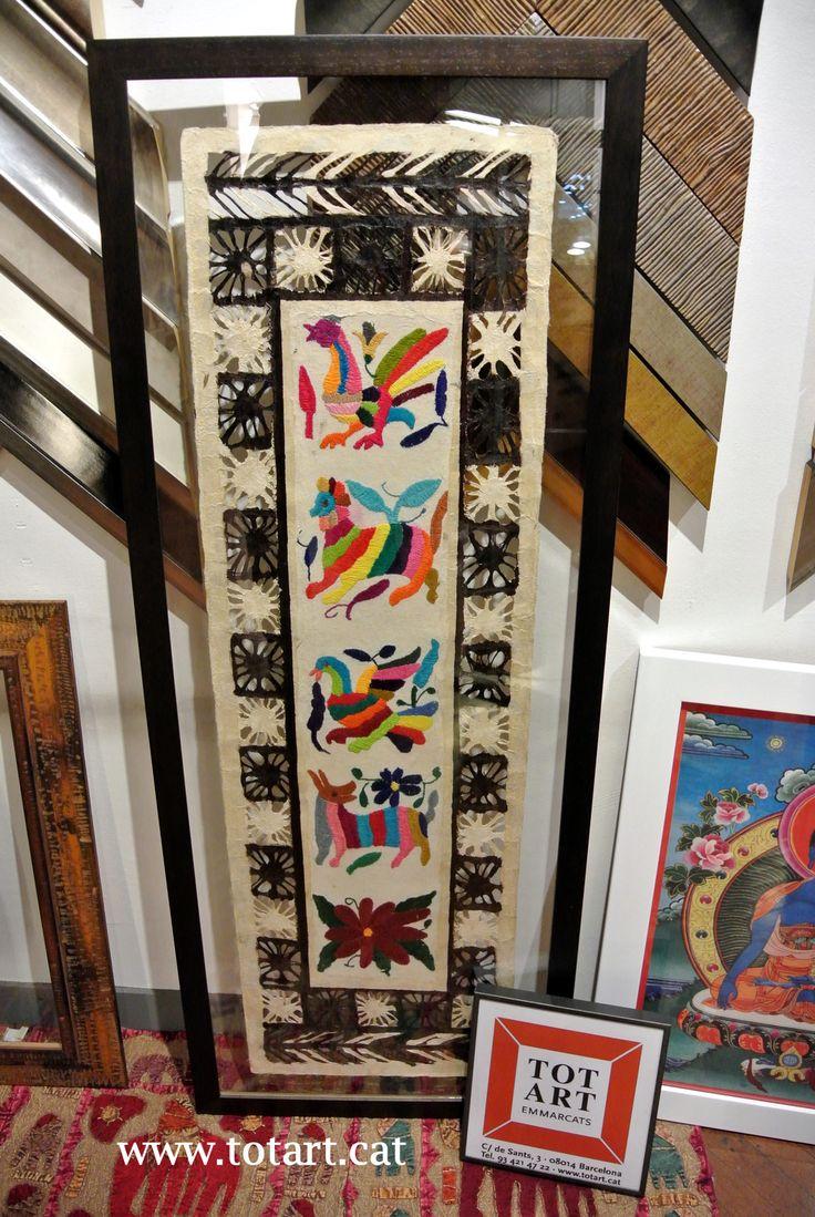 marco para cuadro doble cristal para artesania mejicana. Moldura marron en totart.cat #tienda #enmarcar #barcelona #doblecristal #ideas #handicraft