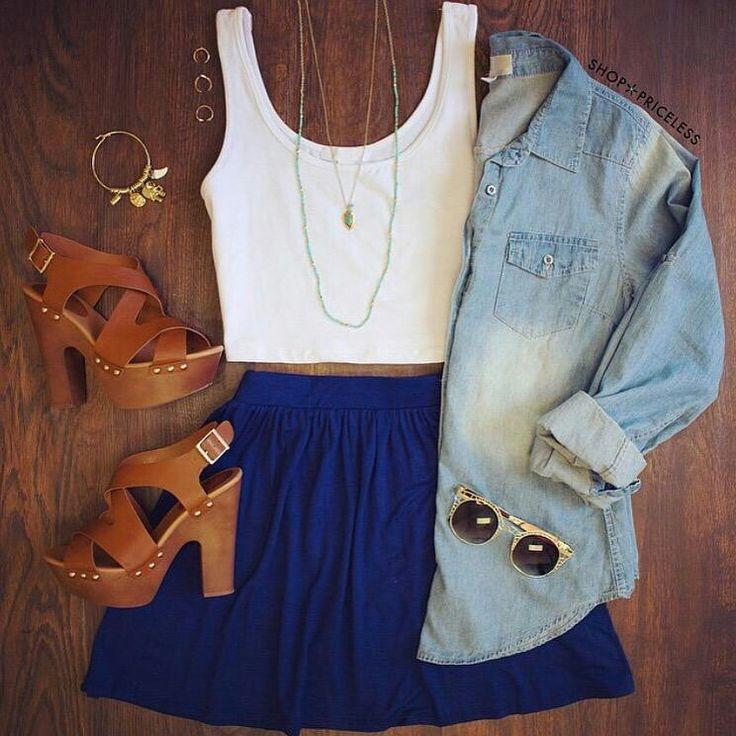 Blue skater skirt + white crop top + denim shirt