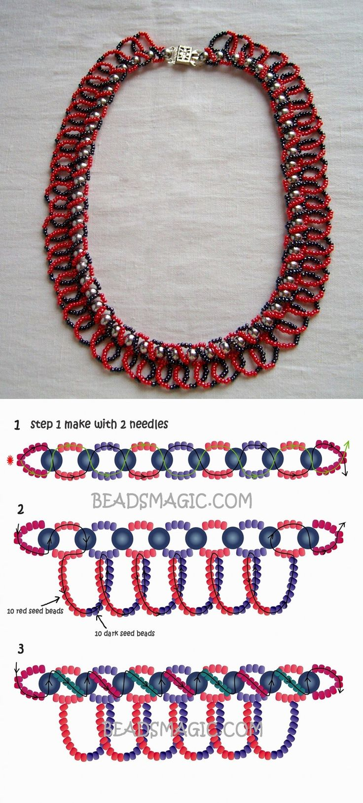 Free pattern for beaded necklace Casino 11/0-6 mm golyó