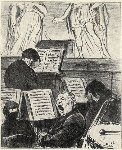 The Orchestra While a Tragedy is Being Played. Original lithograph by Honore Daumier. Published in the peroidical, Charivari, Paris, 1852, at a price of a franc