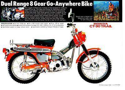 1972 Honda CT90K4 Trail 1 Page Motorcycle Brochure | eBay