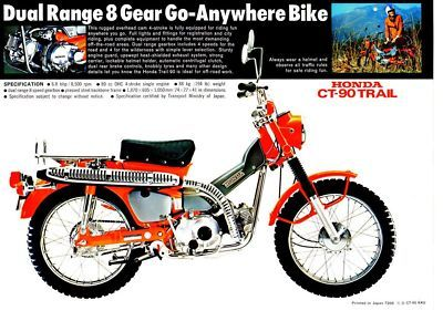 1972 Honda CT90K4 Trail 1 Page Motorcycle Brochure | eBay