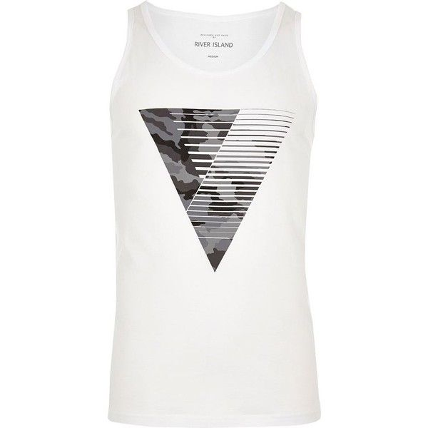 River Island White with camouflage triangle print vest (1765 RSD) ❤ liked on Polyvore featuring men's fashion, men's clothing, men's outerwear, men's vests, vests, white, mens white vest, mens camo vest, mens sleeveless vest and mens vest