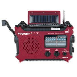 They thought of everything with this emergency radio that runs on solar, hand crank, AA batteries or AC adapter. Plus, in addition to the AM/FM/shortwave radio and NOAA Weather Alert system, it has a flashlight, LED reading light, USB charging jack and headphone jack.