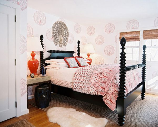 Designing Black Bedroom Furniture Needs Some Preparations : Beautiful Black Also Orange Rule Under An Eclectic Bedroom Design Interior Used Traditional Bed Frame Made From Wooden Material
