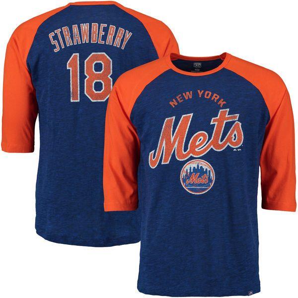 Men's New York Mets Darryl Strawberry Majestic Royal Player Tactics Cooperstown Three-Quarter Sleeve Raglan T-Shirt