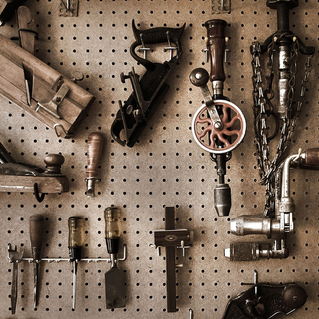Vintage Tools on Pegboard--looks very much like my dad's