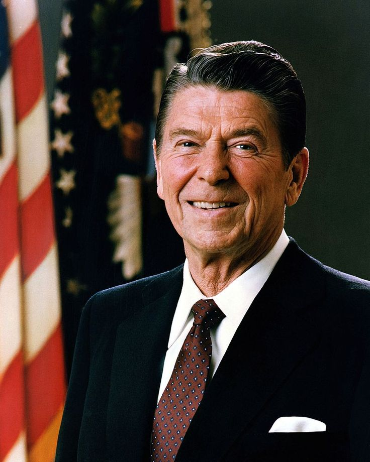 "Ronald Reagan, (1911-2004). 40th U.S. President, 01/20,1981 - 01/20/1989. A popular movie star, he was elected to 2 terms as President. The hostages in Iran were freed, and communism in the Soviet Union fell, symbolized by the fall of the ""Berlin Wall"" which separated Communist East Berlin and Democratic West Berlin. US taxes were lowered."
