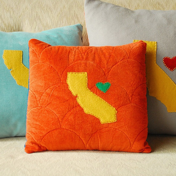 California Love Pillow - Orange Quilted Corduroy by Minor Thread