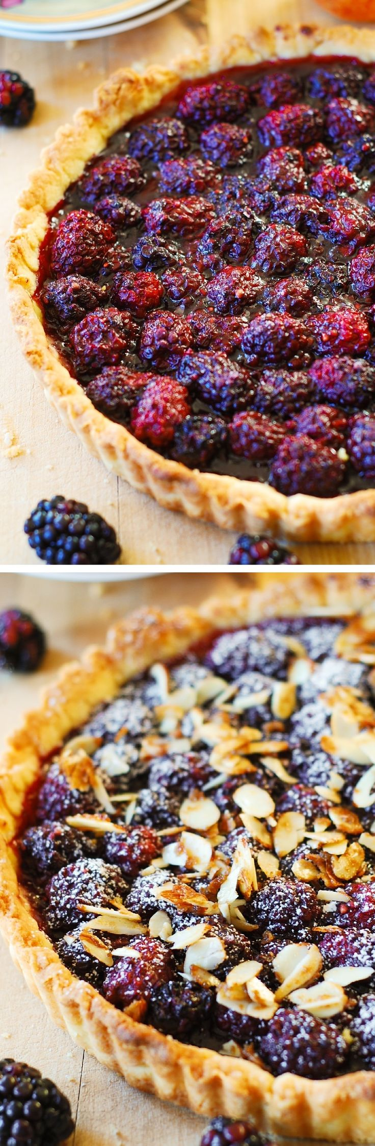Blackberry tart made completely from scratch, in a homemade tart crust! Topped with toasted slivered almonds. So good! Perfect Summer dessert recipe!