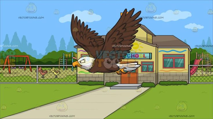 A Flying Bald Eagle With Outside A Pre School Background :  A bald eagle with brown and white feathers golden yellow beak and feet flapping its broad wings while flying and Outside a pre school with yellow walls light brown roofing beige bricks red frame with green glass windows and wooden doors an orange flag raised on the highest level of the school surrounded by a playground during a clear blue sky