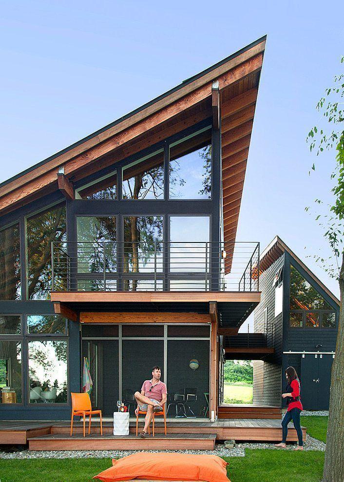 แบบบ านโครงเหล กสไตล โมเด ร นหล งคาป กนก สวยน าอย บ าน ตกแต งบ าน Diy แบบบ านสวย เฟอร น เจอร บ านและสวน Architecture Modern House House Design