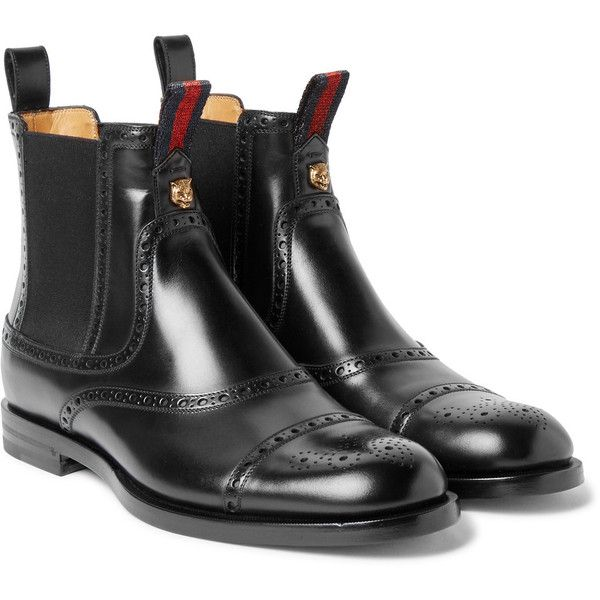 Gucci Brogue-Detailed Polished-Leather Chelsea Boots ($985) ❤ liked on Polyvore featuring men's fashion, men's shoes, men's boots, gucci mens boots, navy blue mens shoes, mens equestrian boots, mens red leather shoes and gucci mens shoes