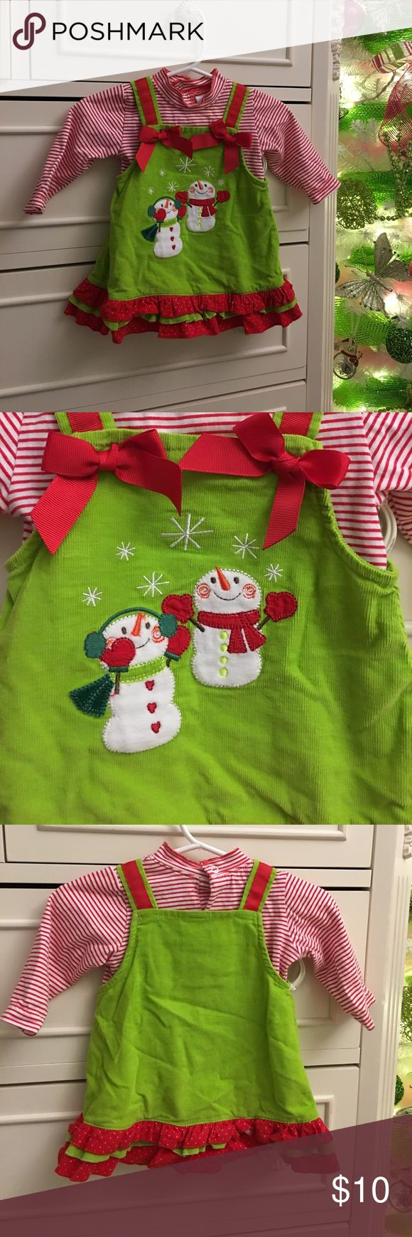 Baby Christmas Dress Red and white long sleeve bodysuit. With the corduroy Christmas dress to cover. Dresses Casual