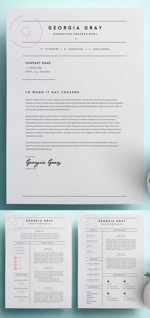 Resume Template 3 Page | CV Template  CL: Possible Cover Letter Template; Love Monograms